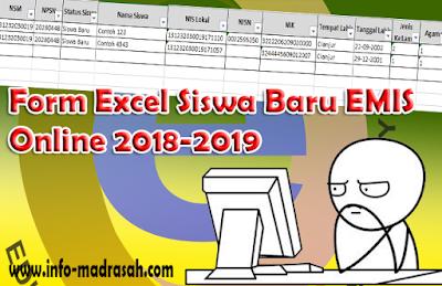 Form Emis, Excel EMIS, EMIS Online, Form Excel Siswa Baru EMIS Online 2018-2019