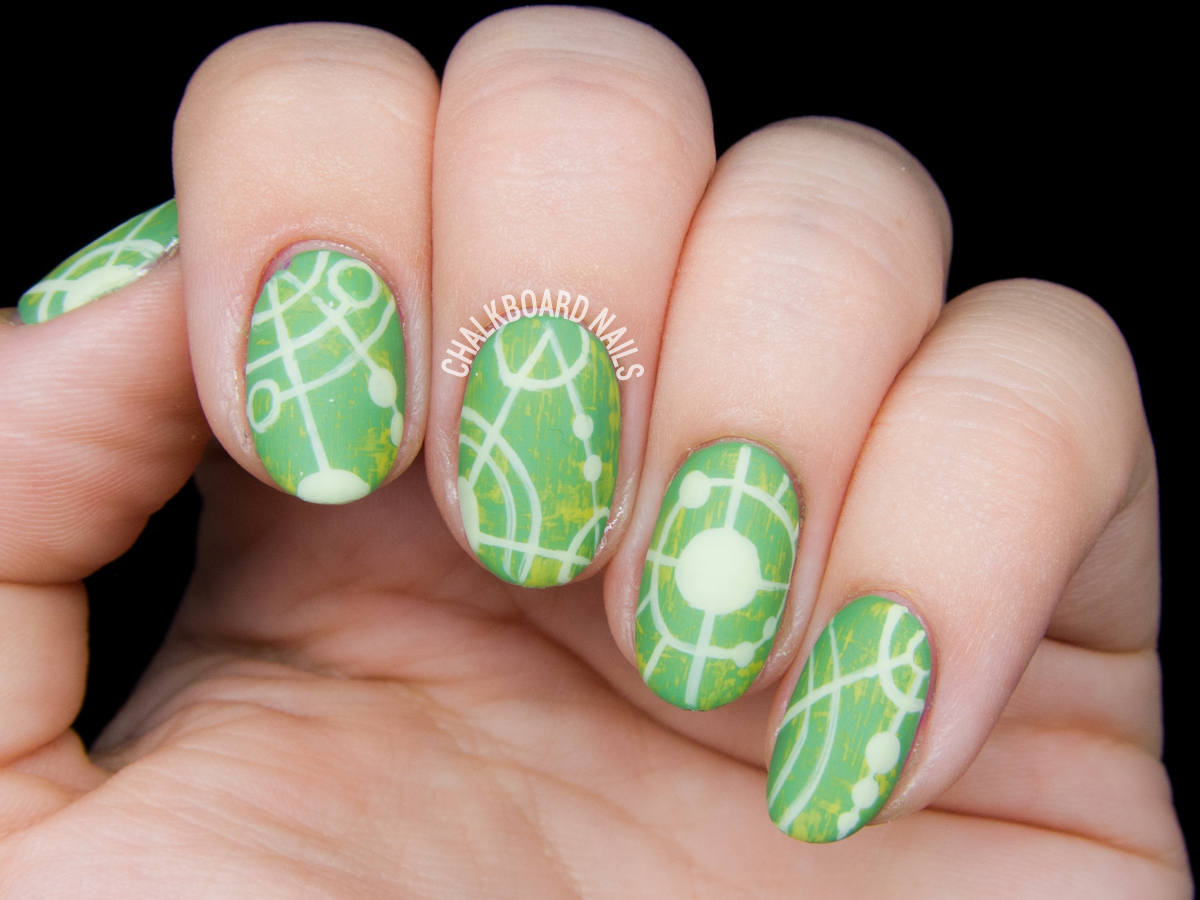 Crop circle nail art by @chalkboardnails