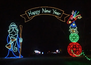 Fantasy of Lights Happy New Year display, Father Time and Baby New Year