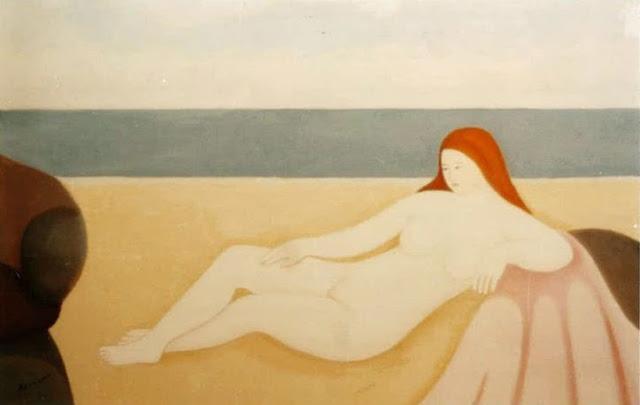 Juan Navarro Ramón desnudo playa pintura posguerra