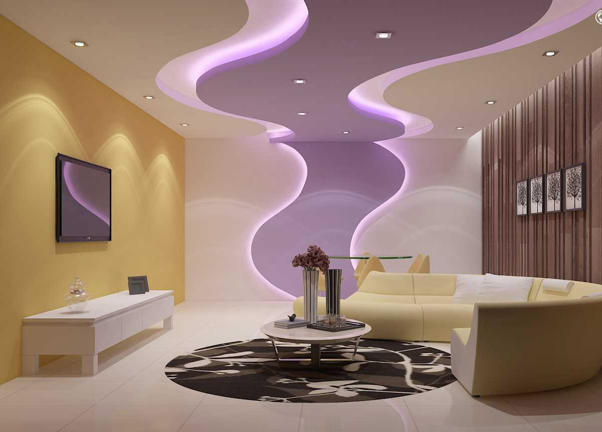 New Gypsum Ceiling Design For Living Room