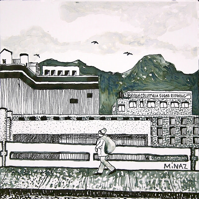 Vancouver, BC Sugar Refinery, East Hastings Street  India Ink on Bristol Board  by Minaz Jantz  NFS