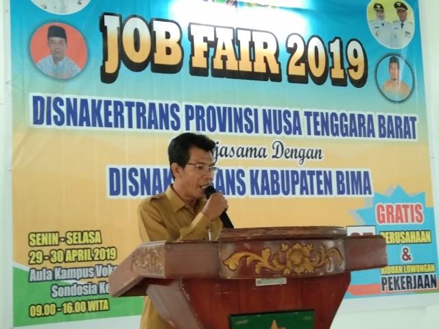 Gandeng Disnakertrans Kabupaten Bima, Disnakertrans NTB Gelar Job Fair 2019