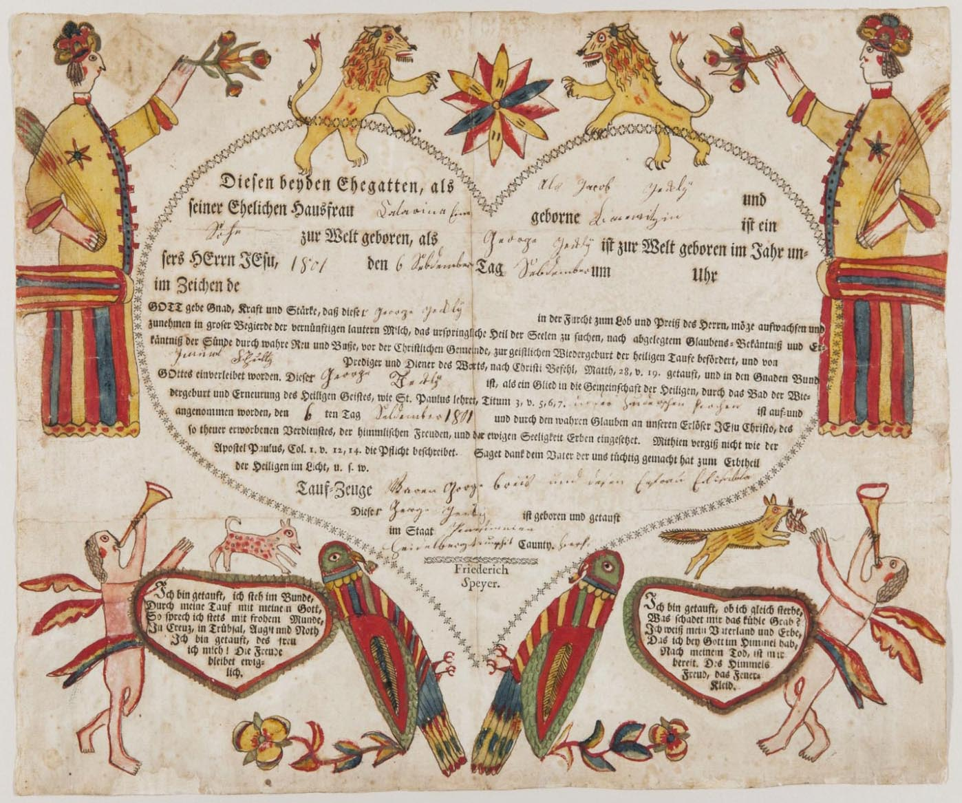 Art artists american folk art part 4 frakturs 1801c birth and baptismal certificate attributed to georg friederich speyer active 1774 1801c berks county pa letterpress hand coloured in ink and 1betcityfo Gallery