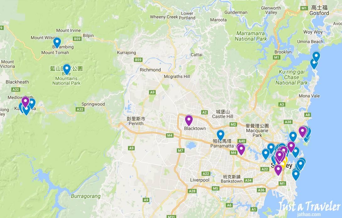 雪梨-景點-推薦-地圖-旅遊-自由行-澳洲-Sydney-Travel-Map-Attraction-Australia