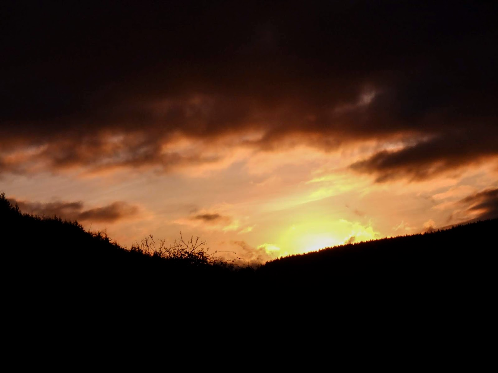 Dark sunset in a valley in the Boggeragh Mountains in North Cork.
