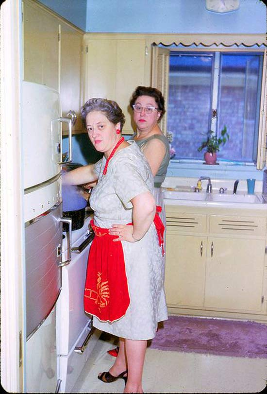 Vintage Snapshot. Two ladies in the kitchen are not amused at by a photographic interruption. What are you thankful for and other stories of Giving Thanks. marchmatron.com