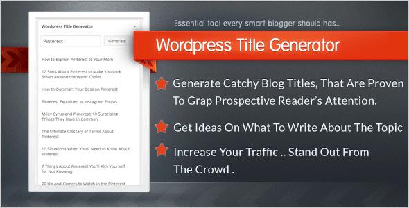 Wordpress title generator plugin