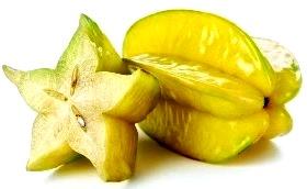 Foto de la fruta carambola color amarillo