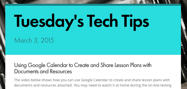 Tuesday's Tech Tips 3/3/15