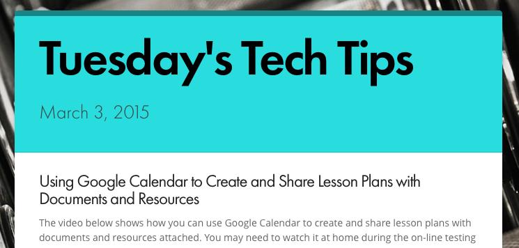 Tuesday's Tech Tips 3/3/15