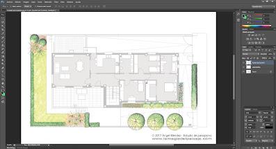 photoshop para arquitectos, dibujo jardines, planos de jardinería, planos paisajismo, dibujar plantas, rotuladores acuarelables, proyectos de paisajismo, diseño jardines