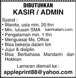 Lowongan Kerja PT. Apple Print