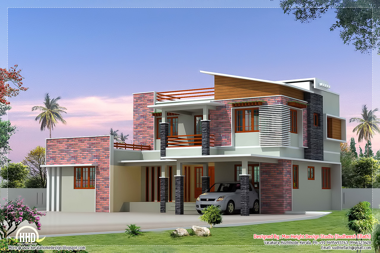 2300 modern 4 bedroom villa elevation kerala for Modern 4 bedroom house floor plans
