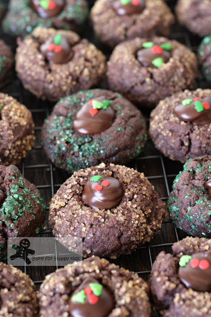 chocolate peppermint thumbprints cookies