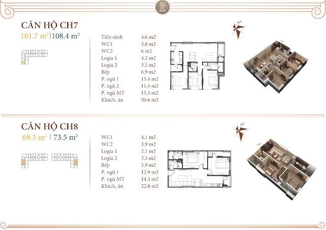 Mặt bằng thiết kế căn 07 và 08