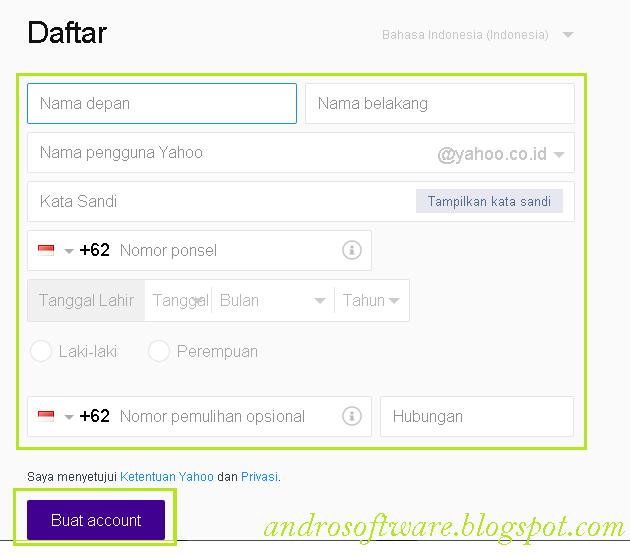 Langkah Ketiga Cara Membuat Email Yahoo