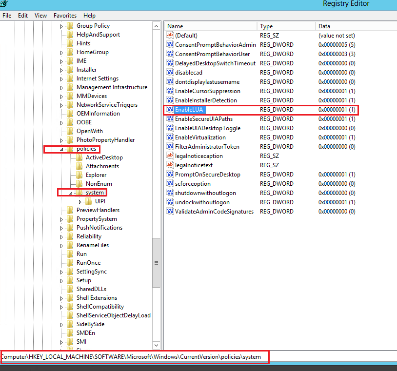 Windows : Disable UAC (User Account Control) with CMD Script