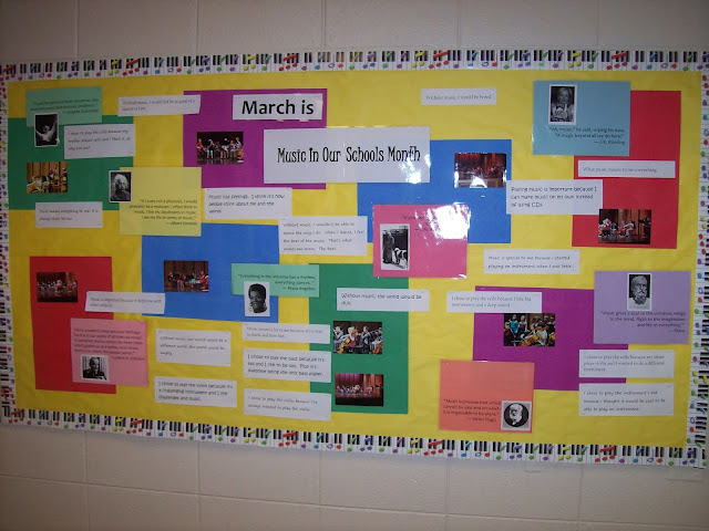 Music In Our Schools Month bulletin board with quotes