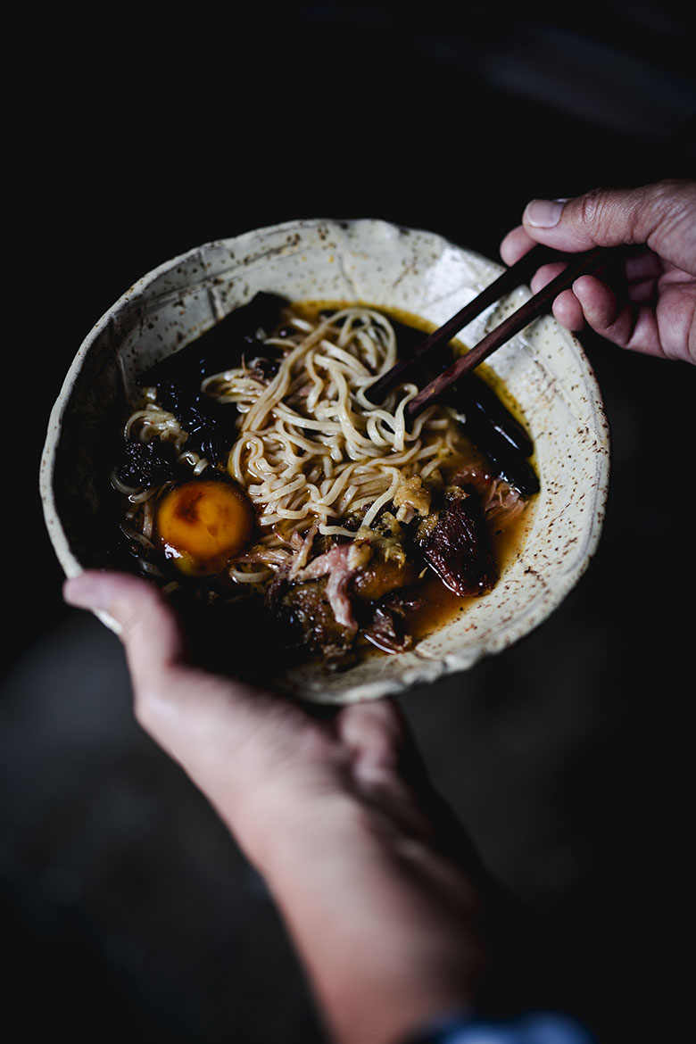 toasted dark rye ramen with duck confit sezchuan broth