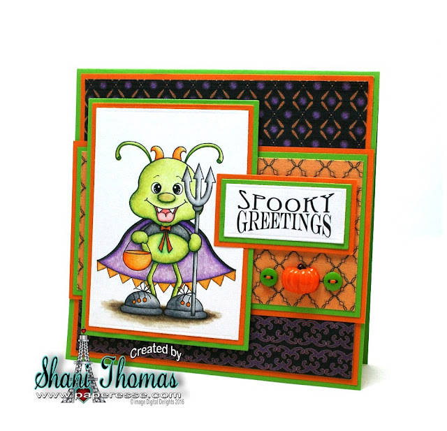 Paperesse – Digital Delights Cutie Fangz stamp set Halloween card.