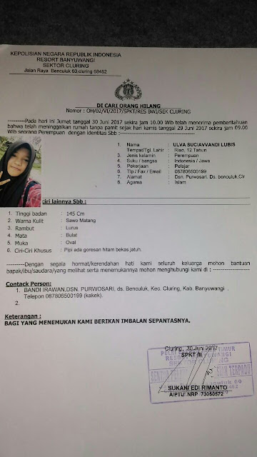 Dokumen Polsek Cluring Polres Banyuwangi Info Tentang Kehilangan Gadis 12 tahun