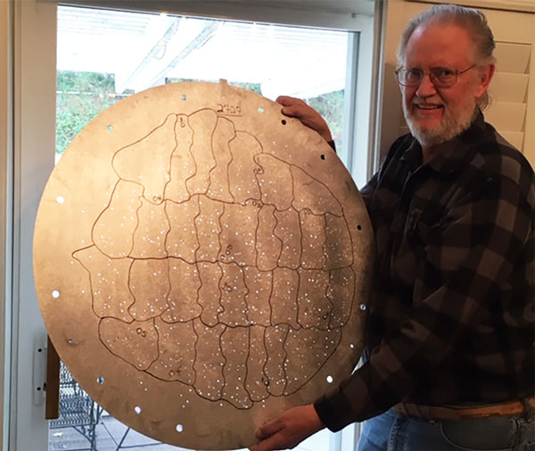 Resident Astronomer displays one of SDSS target disks (Source: Palmia Observatory