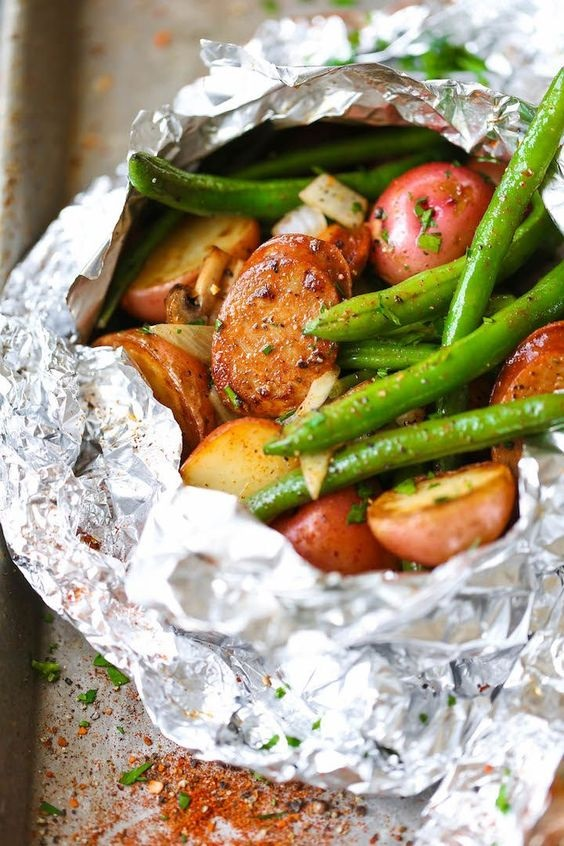 Sausage, Potato And Green Bean Foil Packets