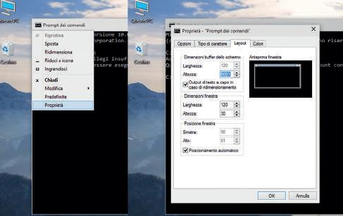 Funzioni prompt comandi Windows 10 opzioni