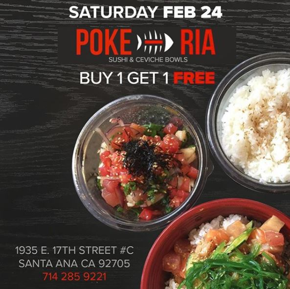 Feb 24 | Poke Ria in Santa Ana Celebrates 2-Year Anniversary with BOGO Free Deal