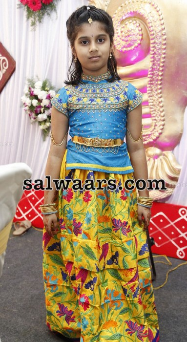 Yellow Floral Lehenga Blue Work Blouse