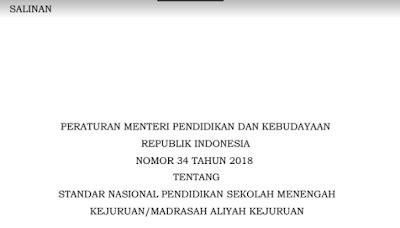 Download Permendikbud Nomor 34 Tahun 2018 Tentang STandar Nasional Pendidikan SMK/Sekolah Menengah Kejuruan dan MAK/Madrasah Aliyah Kejuruan I pdf