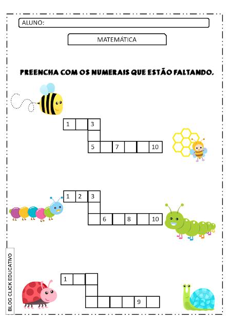 atividade de matemática para alfabetização números para completar