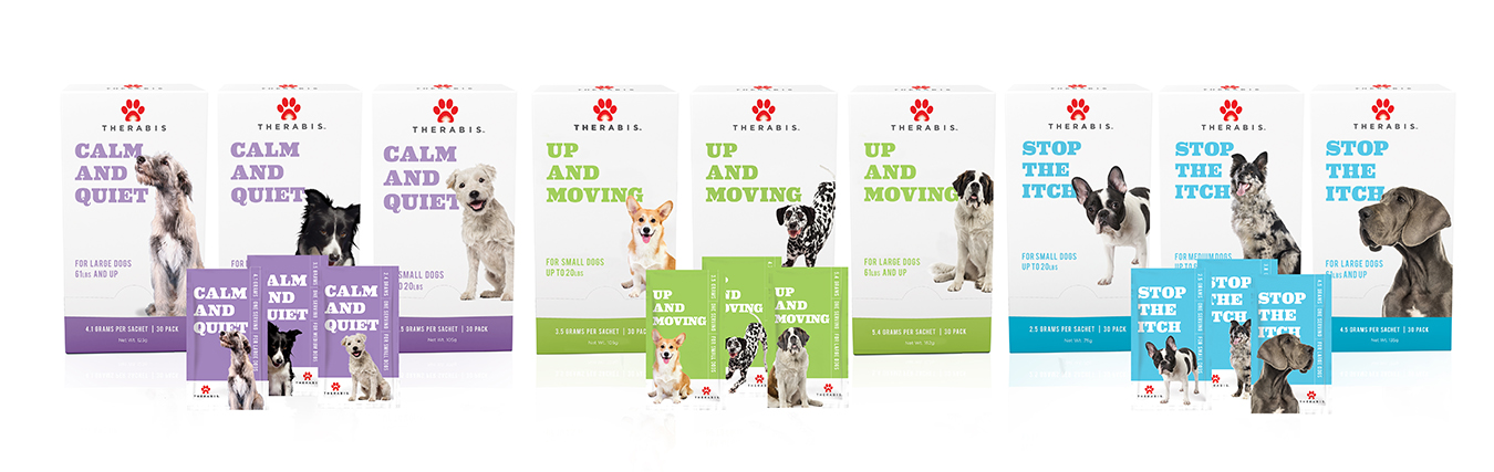 Therabis range of dog supplements for stress, itching and joint mobility issues
