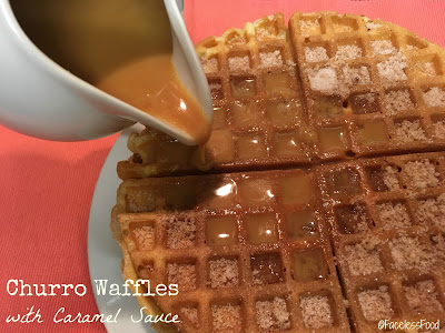 Churro Waffles with Caramel Sauce