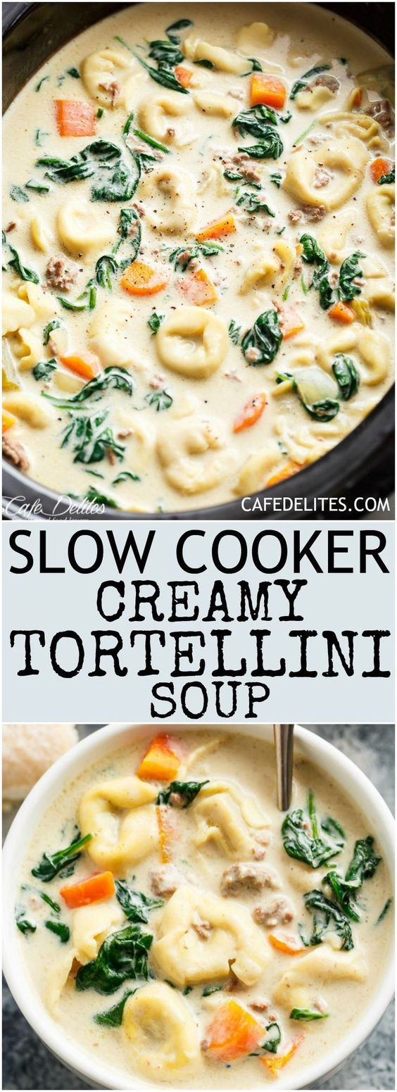 ★★★★☆ 4920 ratings       | slow cooker creamy tortellini soup #slow #cooker #creamy #tortellini #soup