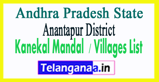 Kanekal Mandal Villages Codes Anantapur District Andhra Pradesh State India