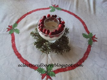 EEclectic Red Barn: Candle centerpiece with fresh cranberries on table