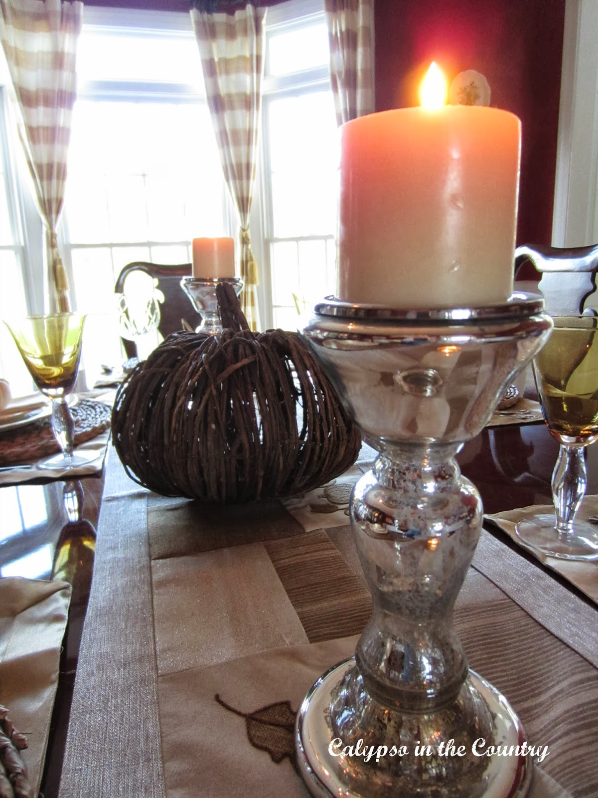 Mercury Glass Candlestick - part of a fall table setting