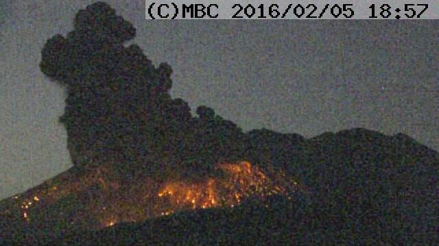 Explosion sur le volcan Sakurajima, 05 février 2016