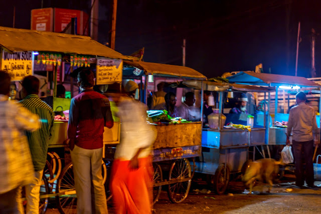 Row of street food shops in Coonoor. Picture taken in night with street light
