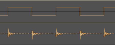 [Image: Two waveforms, the top one of which is a square wave and the bottom one has a slowly decaying signal starting at every square transition.]