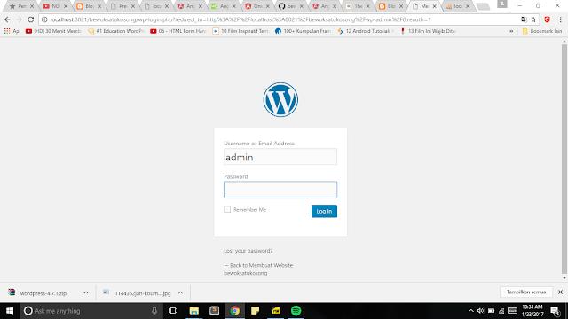 Masukan Username dan password yang sudah kita buat pada sebelumnya (wordpress)