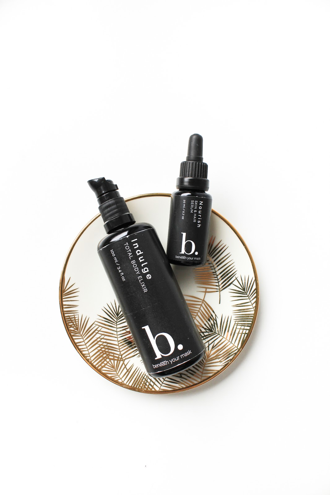 March Clean Beauty Box Indulge Beneath Your Mask Indulge Total Body Elixir, Nourish Skin + Hair Serum