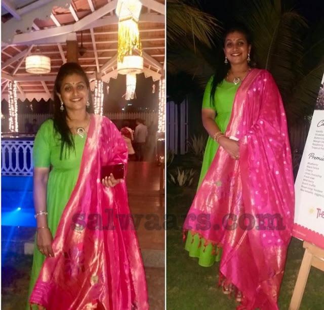 Roja Green Anarkali Salwar