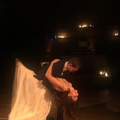 Troian Bellisario and Patrick J Adams dancing at their wedding