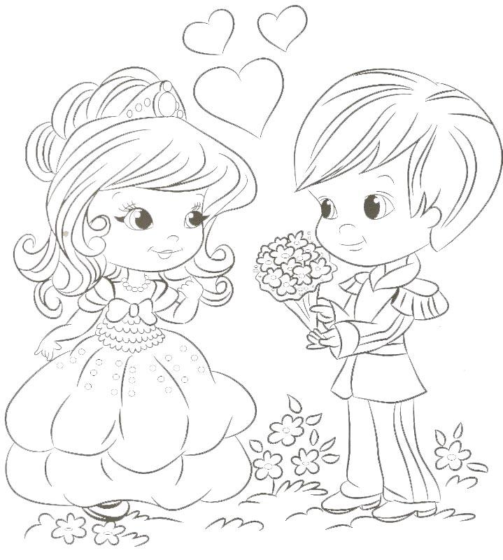 Dibujo para colorear de princesa y príncipe