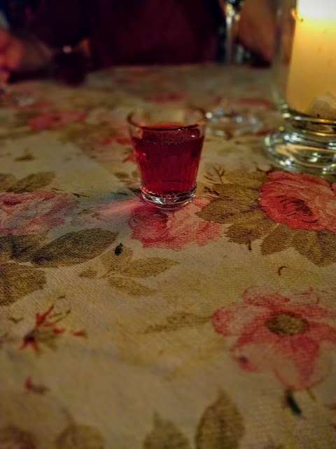 Shot of cherry vodka at Restauracja Dawne Smaki in Warsaw, Poland