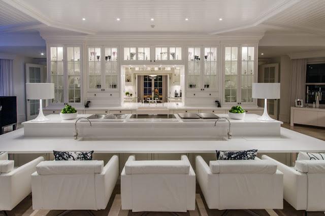 Celine Dion mansion white kitchen in Florida in Jupiter