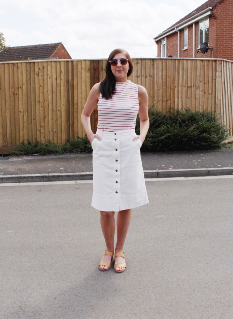 fbloggers, fashionbloggers, halcyonvelvet, wiw, whatimwearing, ootd, outfitoftheday, lotd, lookoftheday, primark, topshop, buttonthroughskirt, redandwhite, bretonstripes, fashionbloggers, fashionblogger